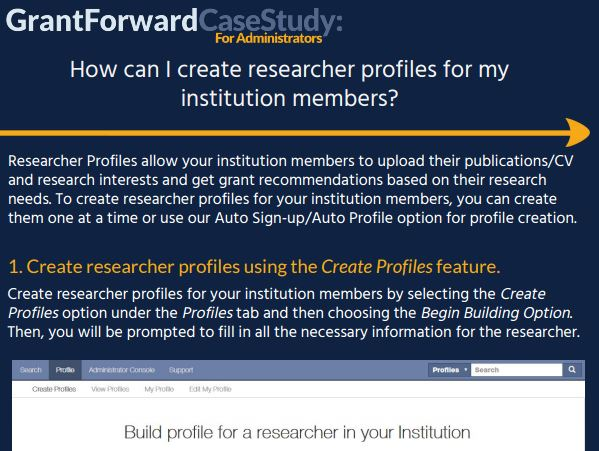 How can I create researcher profiles for my institution members? Case Study Content Preview