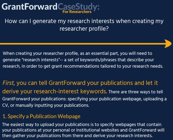 How can I generate my research interests when creating my researcher profile? Case Study Content Preview