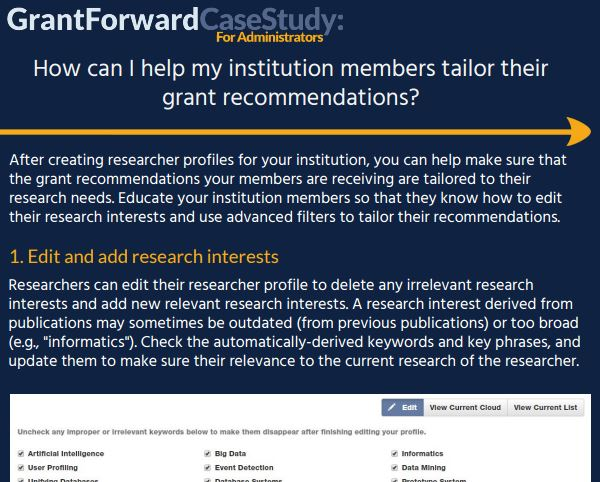 How can I help my institution members tailor their grant recommendations? Case Study Content Preview