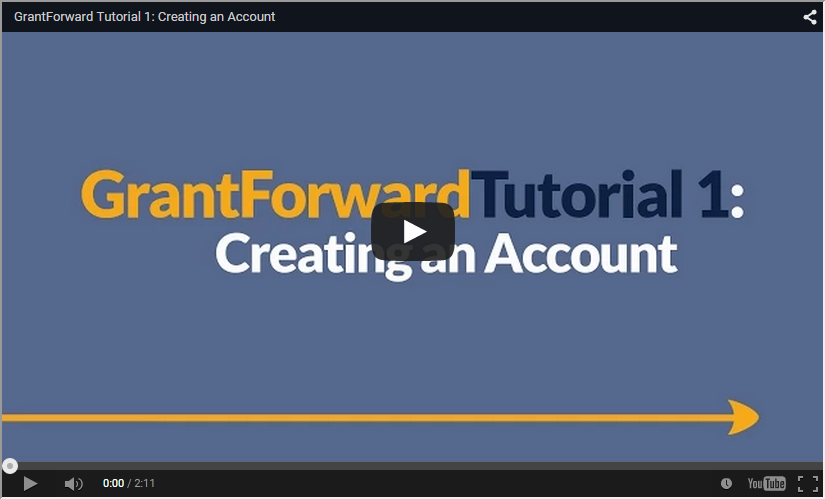 Video about Creating a GrantForward Account