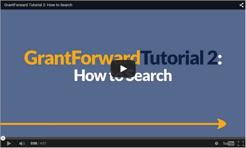 Video about How to Search on GrantForward