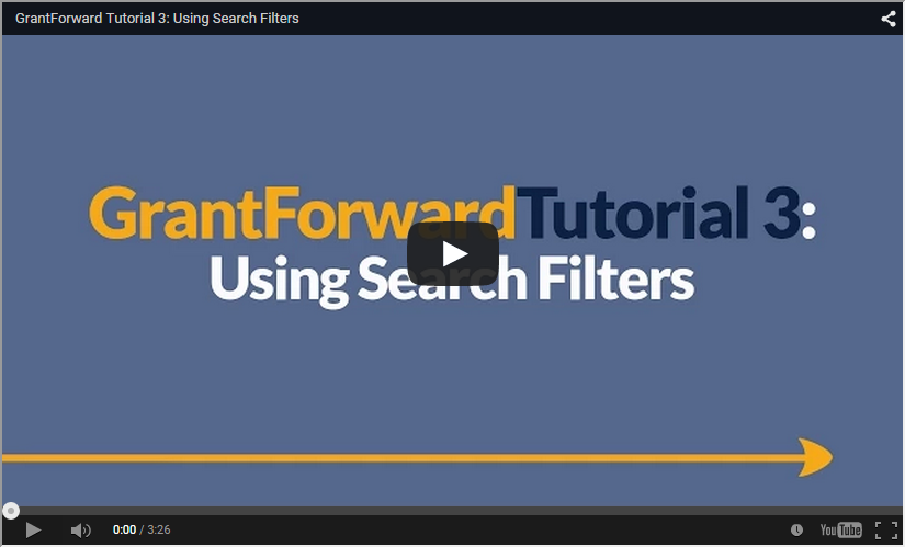Video about Using GrantForward Search Filters