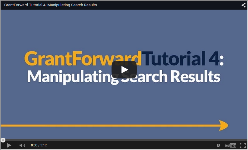 Video about How to Manipulate Search Results on GrantForward