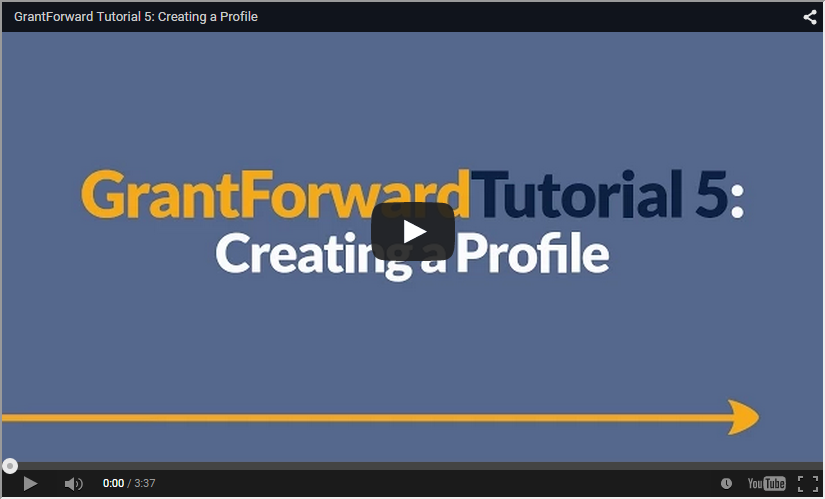 Video about How to Create a Profile on GrantForward