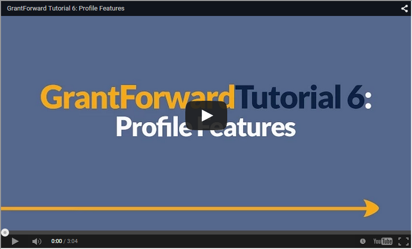 Video about GrantForward Profile Features